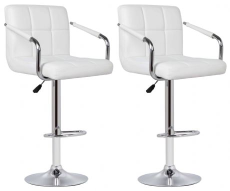 Pair of 2 Milan White Faux Leather Padded Seat Bar Stools With Arms